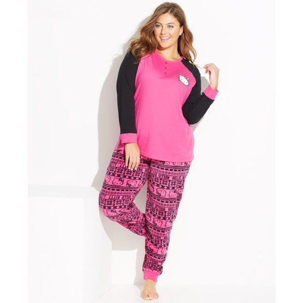 hello kitty plus size lovely dreamer knit top and fleece bottom