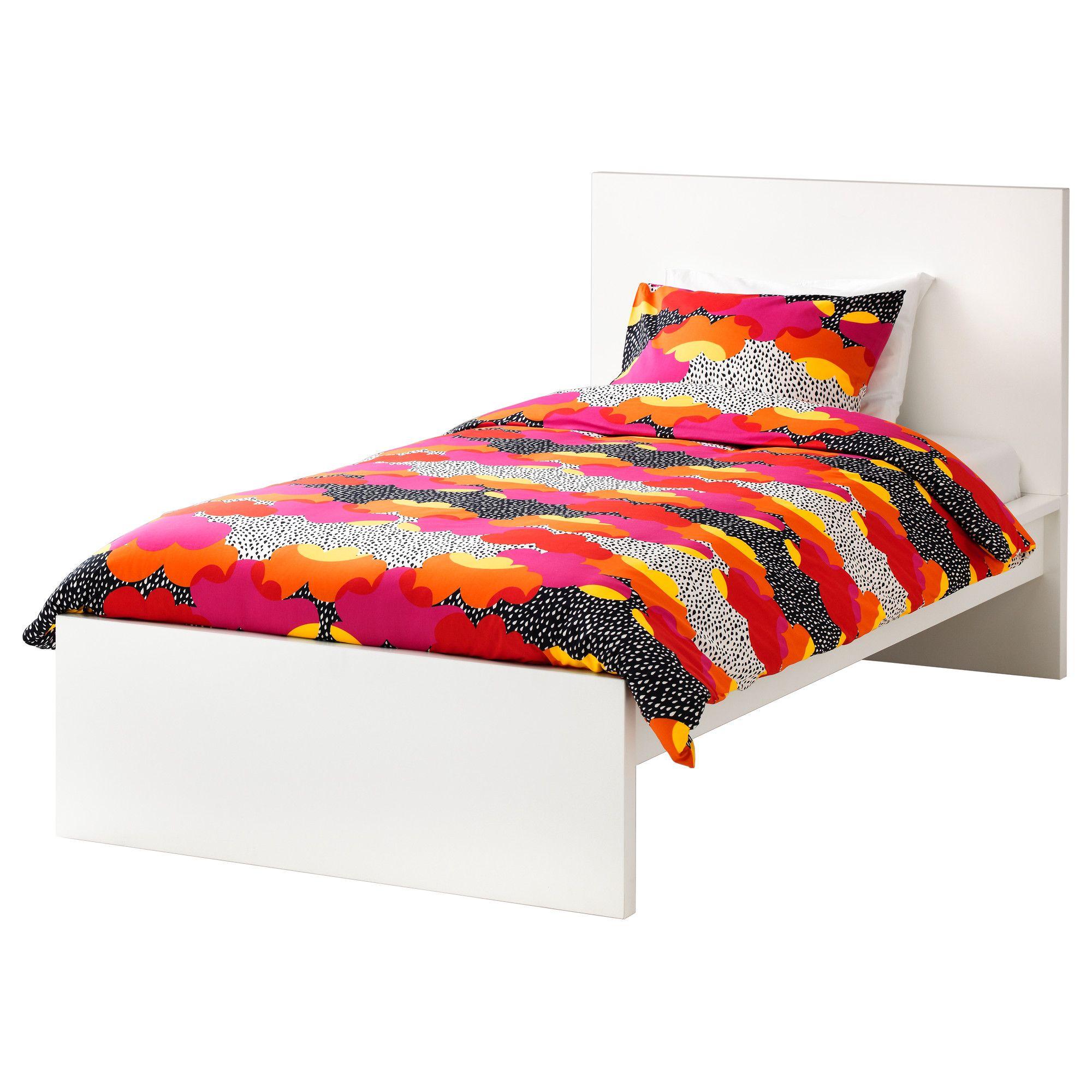 MALM Bed frame, high White/luröy Standard Single | Malm bed frame ...