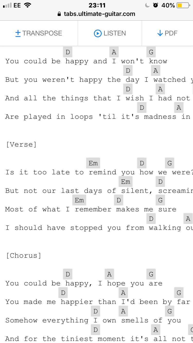 Snow Patrol You Could Happy Guitar Chords Httpstabsultimate