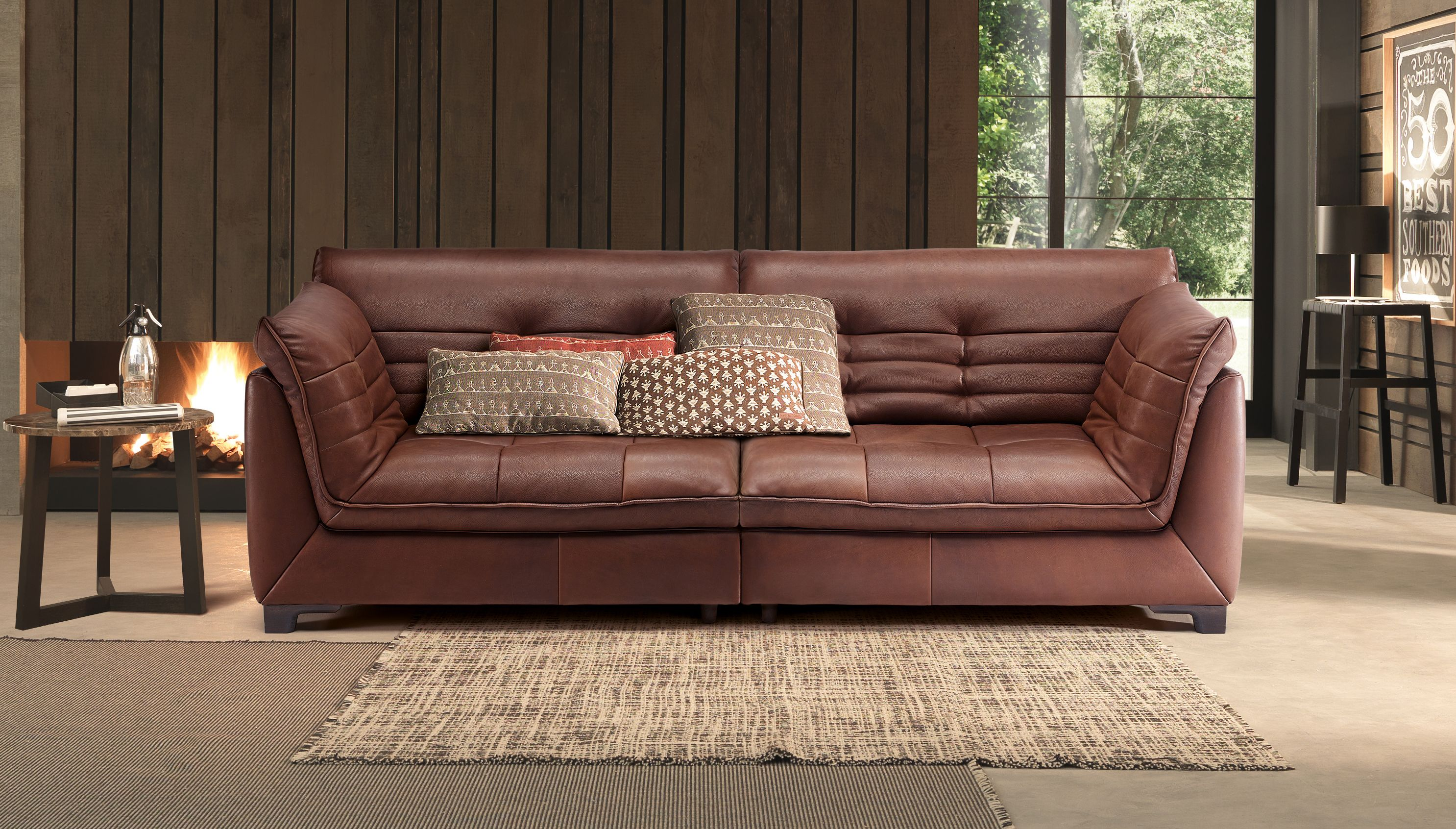 Sofa Covered In Natural Rustic Leather Modern Sofa Set Furniture Leather Sofa Living Room