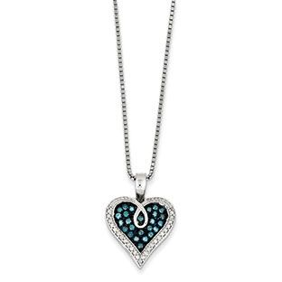 12 carat blue white diamond heart pendant necklace in sterling 12 carat blue white diamond heart pendant necklace in sterling silver available exclusively at mozeypictures Image collections