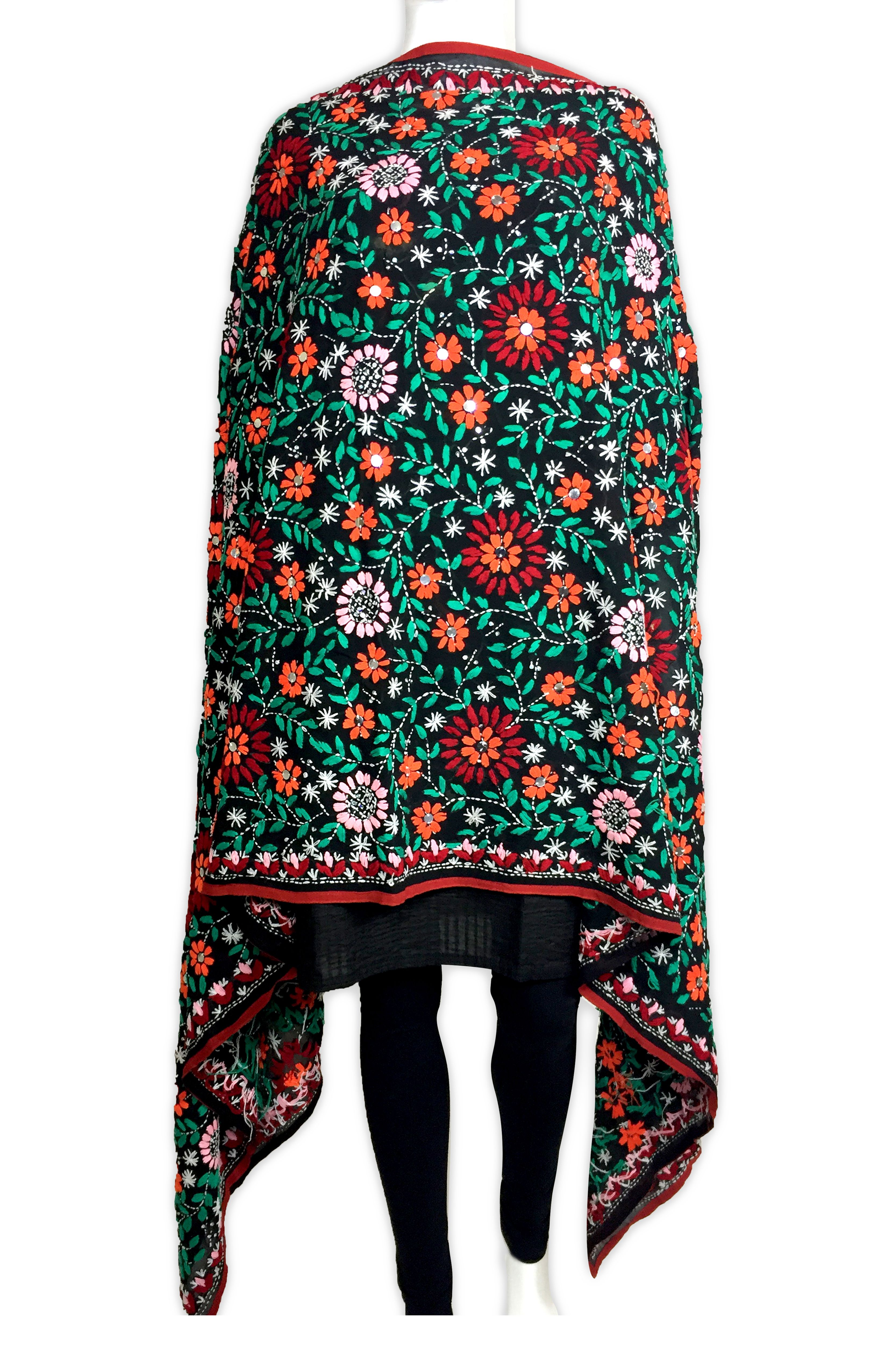 5e3b3cd7ba This beautiful georgette base phulkari dupatta is Hand embroidered with  wool thread and sequins. Ready to Ship from CA shop online  www.pinkphulkari.com
