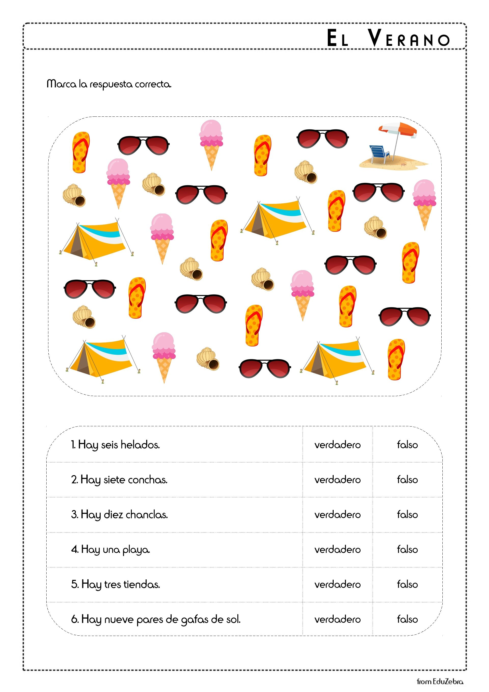 Beach Vocabulary In Spanish Worksheets   Printable Worksheets and  Activities for Teachers [ 2716 x 1920 Pixel ]
