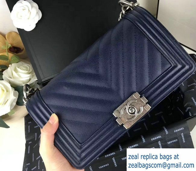 108ebef1e8b6 Chanel Caviar Leather Chevron Boy Flap Bag Navy Blue 2017 | Luxury ...