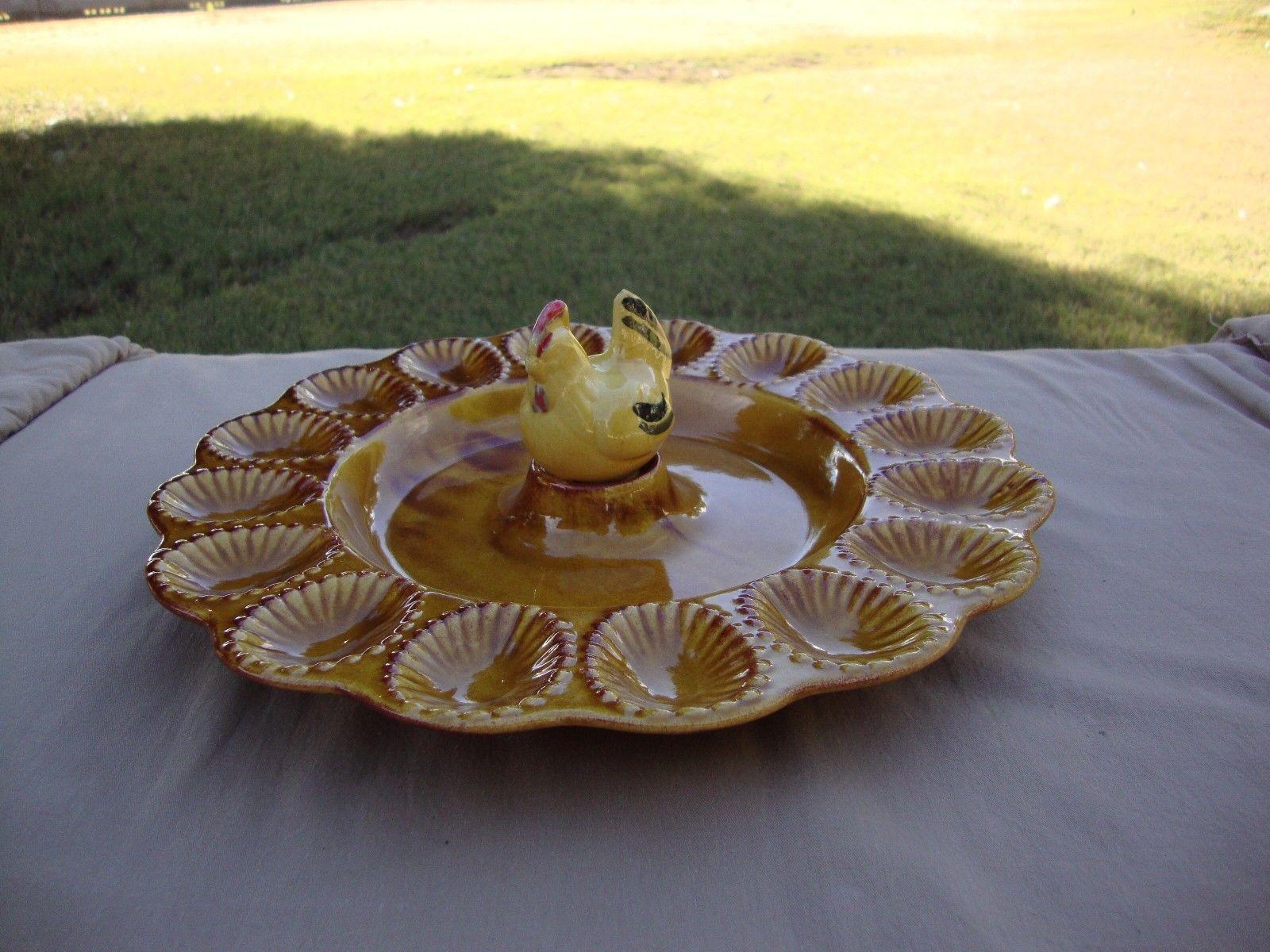 Mid Century California Pottery Chicken Deviled Egg Plate