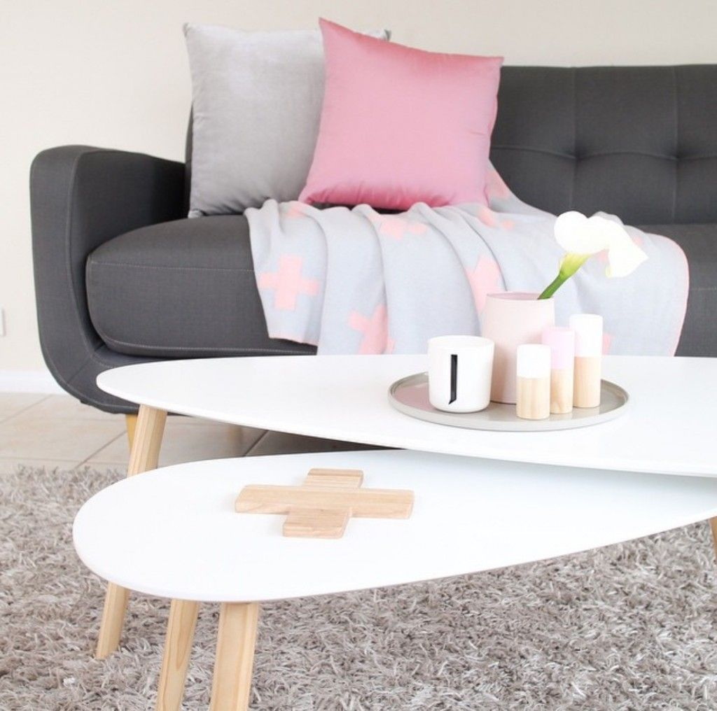 Kmart homewares set of 2 coffee tables with wooden accessories by white fox styling