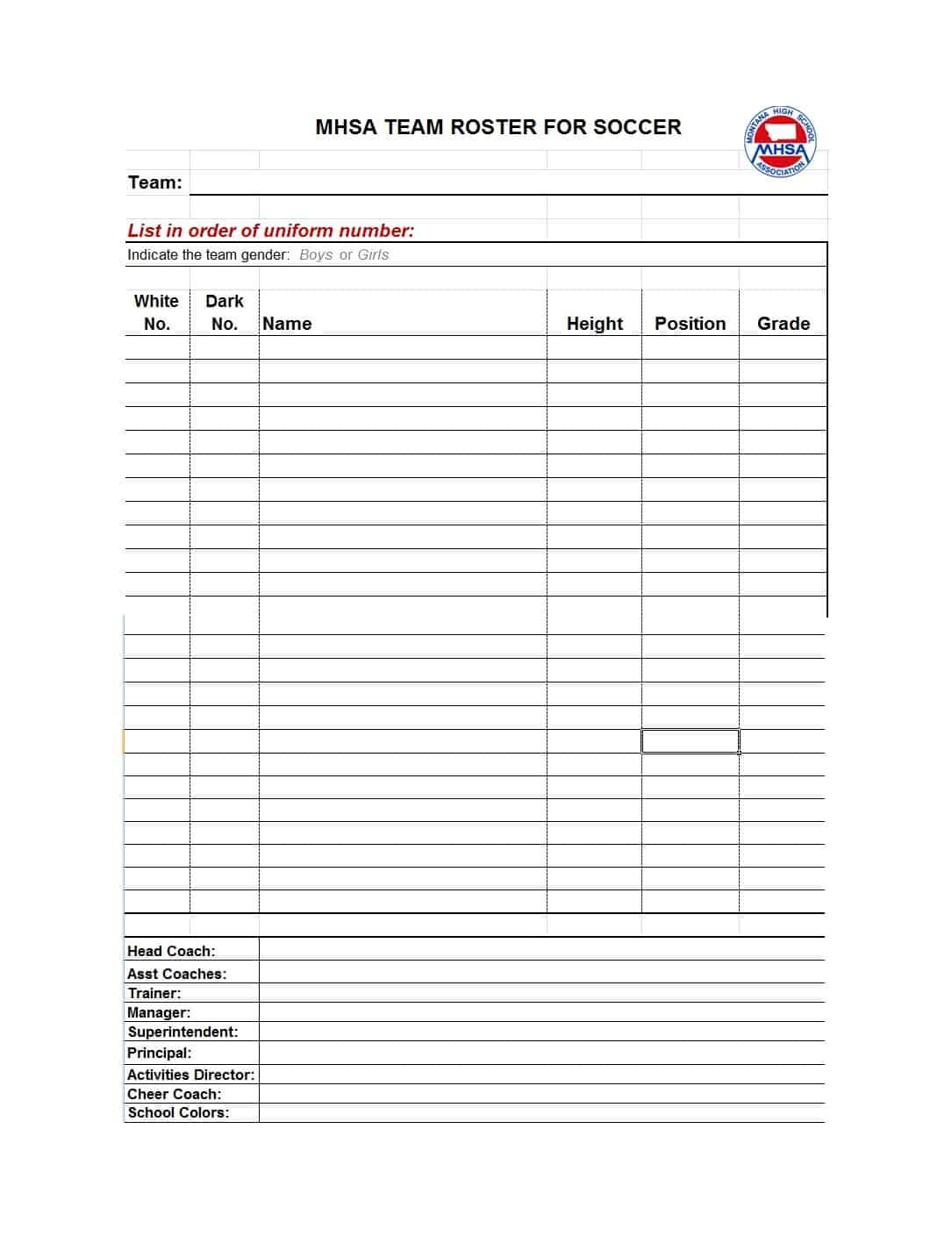 49 Printable Soccer Roster Templates Soccer Lineup Sheets ᐅ