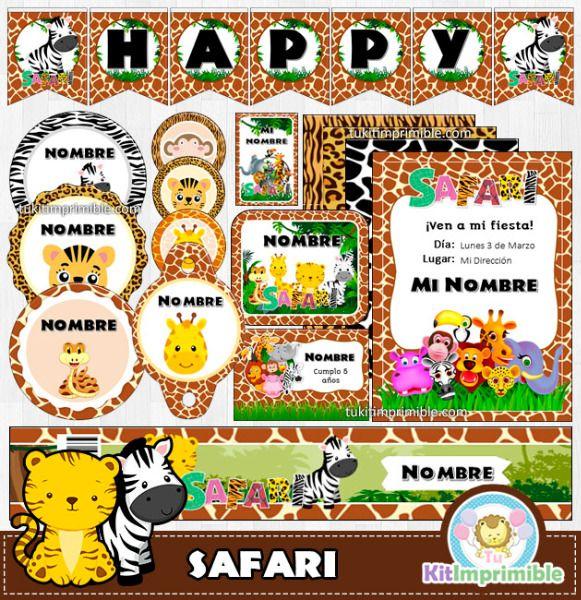 Kit imprimible completo para tu fiesta temática Animal Print Safari ...