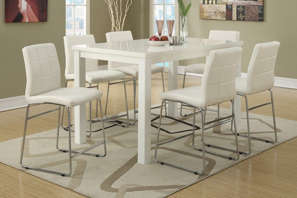 7pc Modern High Gloss White Counter Height Dining Table Set