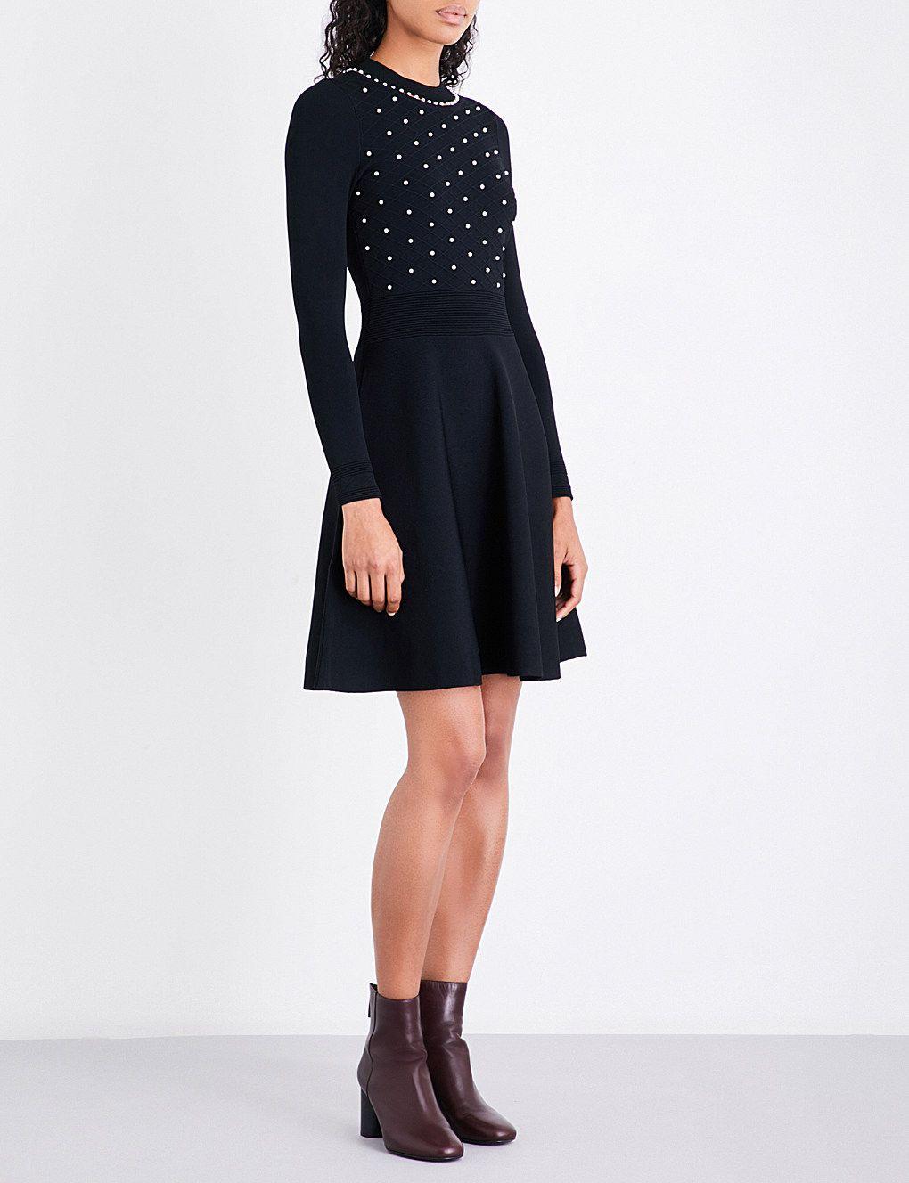Sandro Faux Pearl Embellished Knitted Dress Selfridges Com Dresses Knit Dress Long Sleeve Dress [ 1328 x 1020 Pixel ]