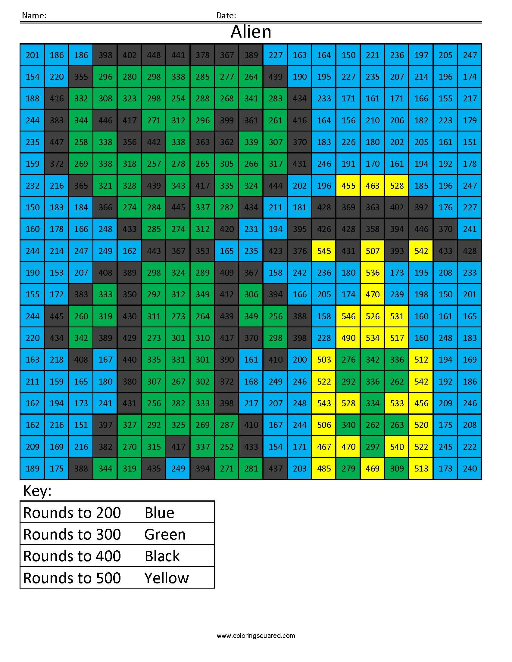 Alien- Rounding Hundreds Place | Pinterest | Aliens, Worksheets and ...