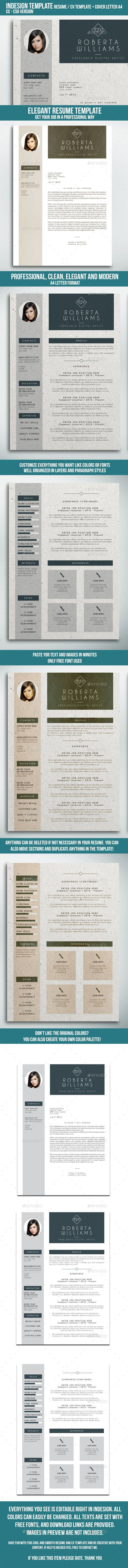 Professional Resume Cv Indesign Template Pinterest Indesign