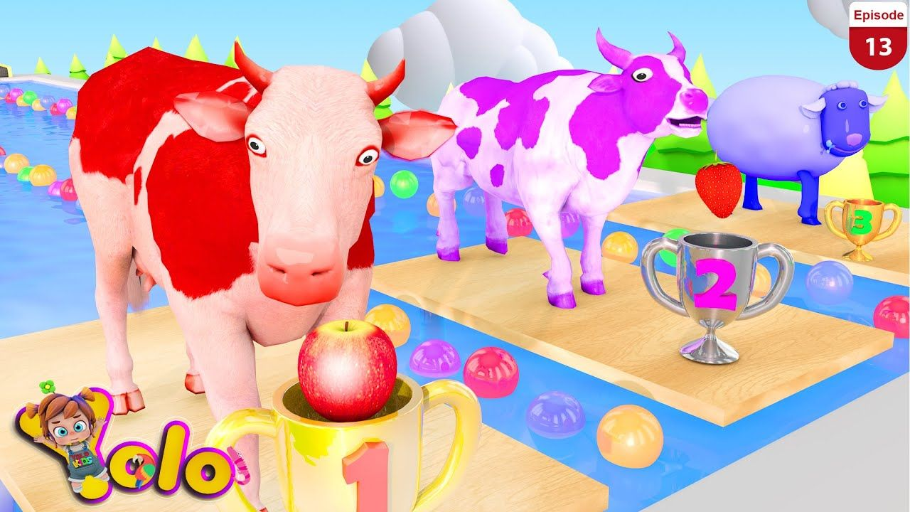 Learn Animals Cow Bull Swimming Race in Wooden Pool Cow
