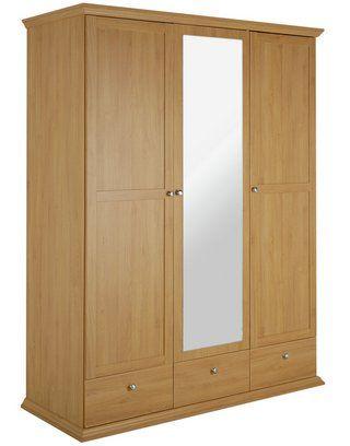 promo code 640e5 b6091 Home Canterbury 3 Dr 3 Drw Mirrored Wardrobe - Oak Eff ...