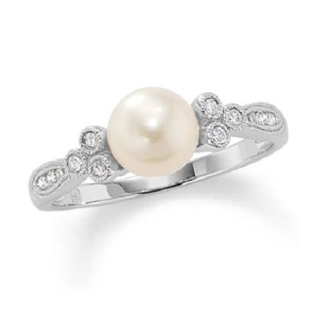 Pearl engagement ring.