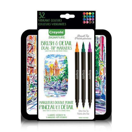 Crayola Signature Brush And Detail Dual Tip Markers Multi