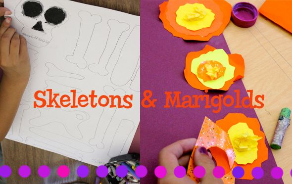 Day-of-the-Dead-art-lesson- less body, more skull so i could get designs in but i like the idea of the marigolds.