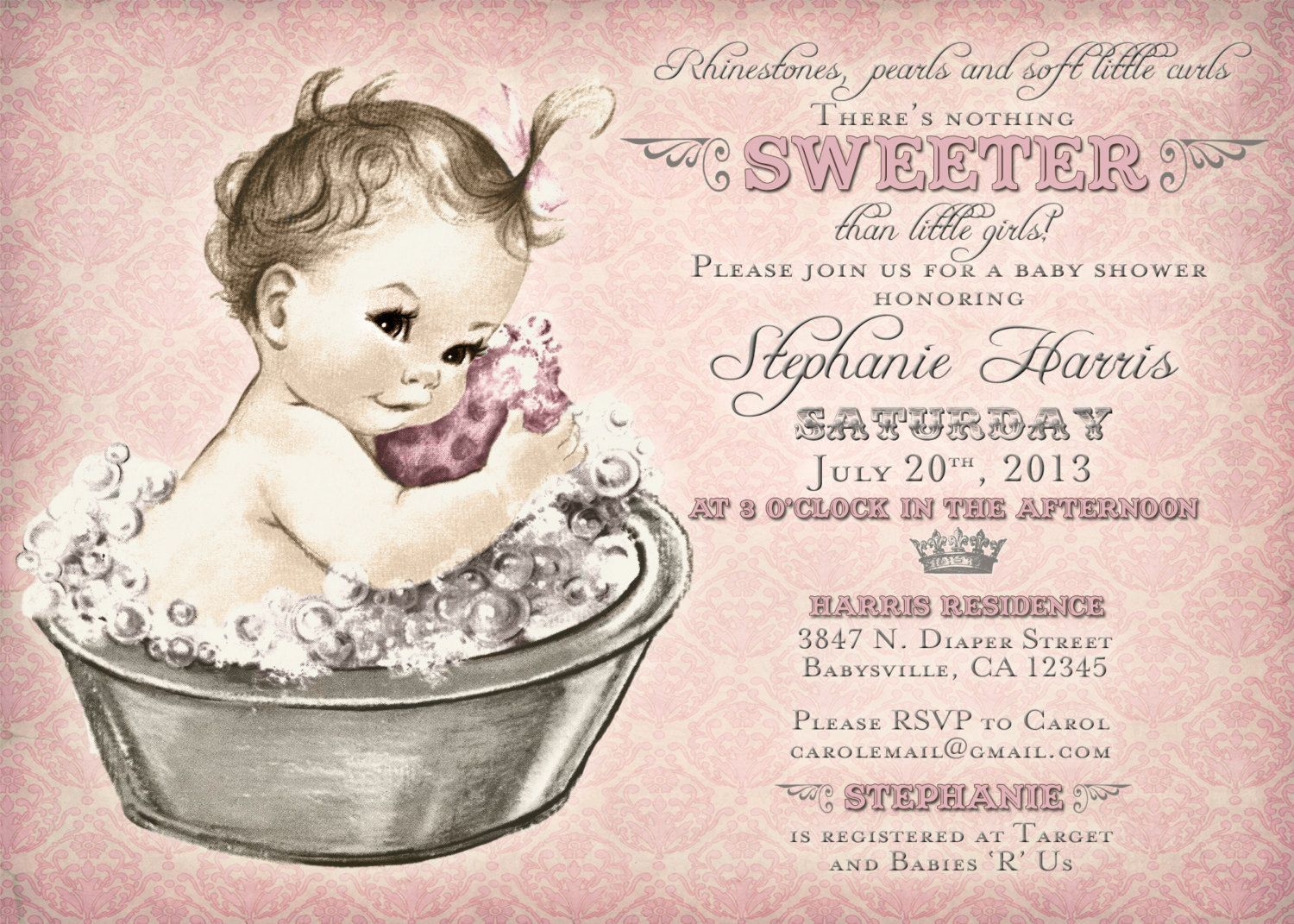 Vintage Baby Shower Invitation For Girl
