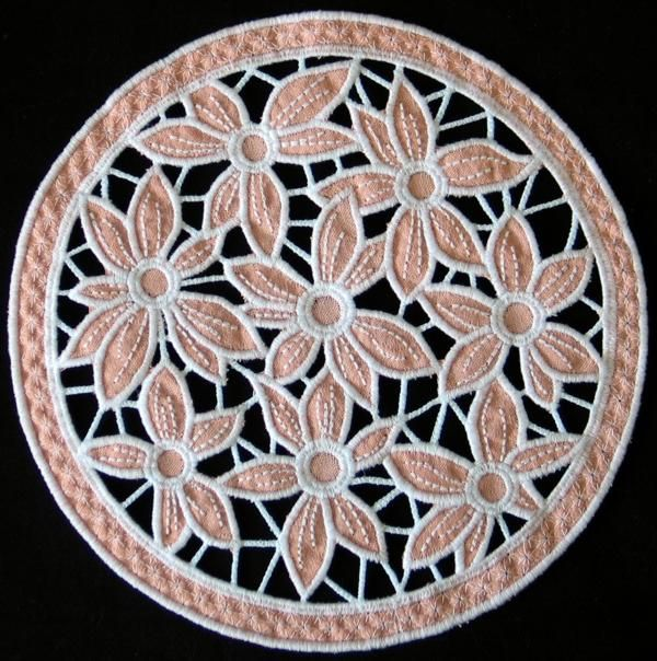 Advanced Embroidery Designs Cutwork Lace Flower Bed Doily