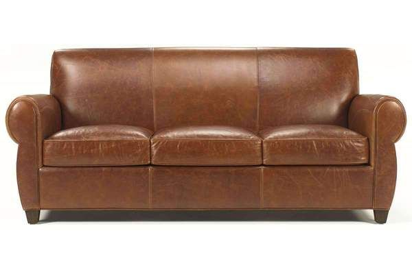 Tribeca Rustic Leather Rolled Tight Back Cigar Sofa | House ...