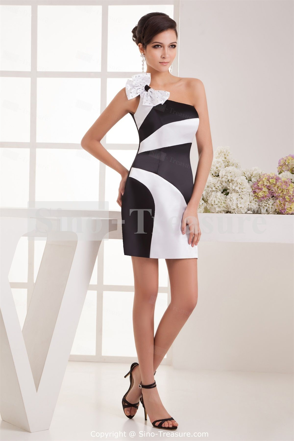 Black/ White Column One Shoulder Bow Cocktail Dress/ Homecoming ...