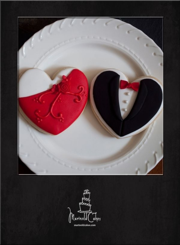 Heart cookies decorated with tux and red gown. Very well ...