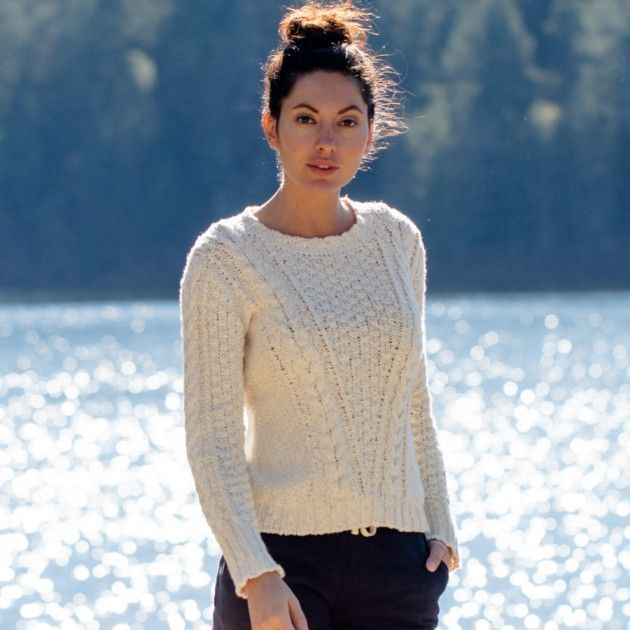 Guideboat Women's Deep River Slub Cotton Cable-Knit Sweater in 100 ...