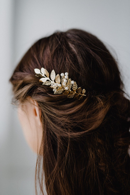 gold leaf hair comb | gold leaf hair piece | bridal hair