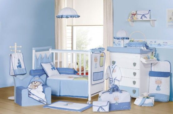 blue baby nursery interior and furniture ideas for baby boy | Baby ...