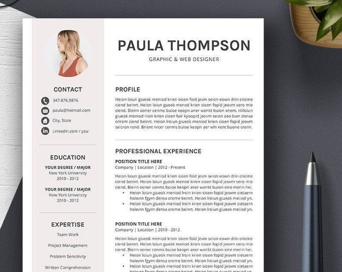 creative resume template cover letter 1 2 3 page cv template - Professional Resume Templates Word