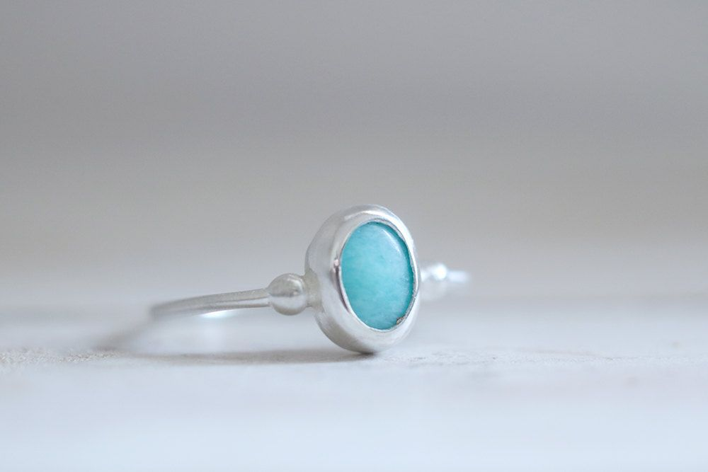 Amazonite ring. Sterling silver ring with Amazonite. Blue Amazonite, natural Amazonite, Amazonite band, blue gemstone, stacking ring. by masaoms on Etsy