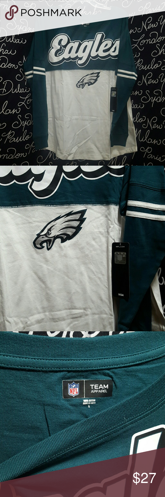 NWT Women's NFL Philadelphia Eagles ❤NWT❤, Long sleeve,  Philadelphia Eagles,  Varsity spirit baby Jersey tee , cotton , crew neck machine washable inside out with authentic NFL team apparel tag attached.    Please ask any and all questions before purchasing this item. NFL TEAM GEAR  Tops Tees - Long Sleeve