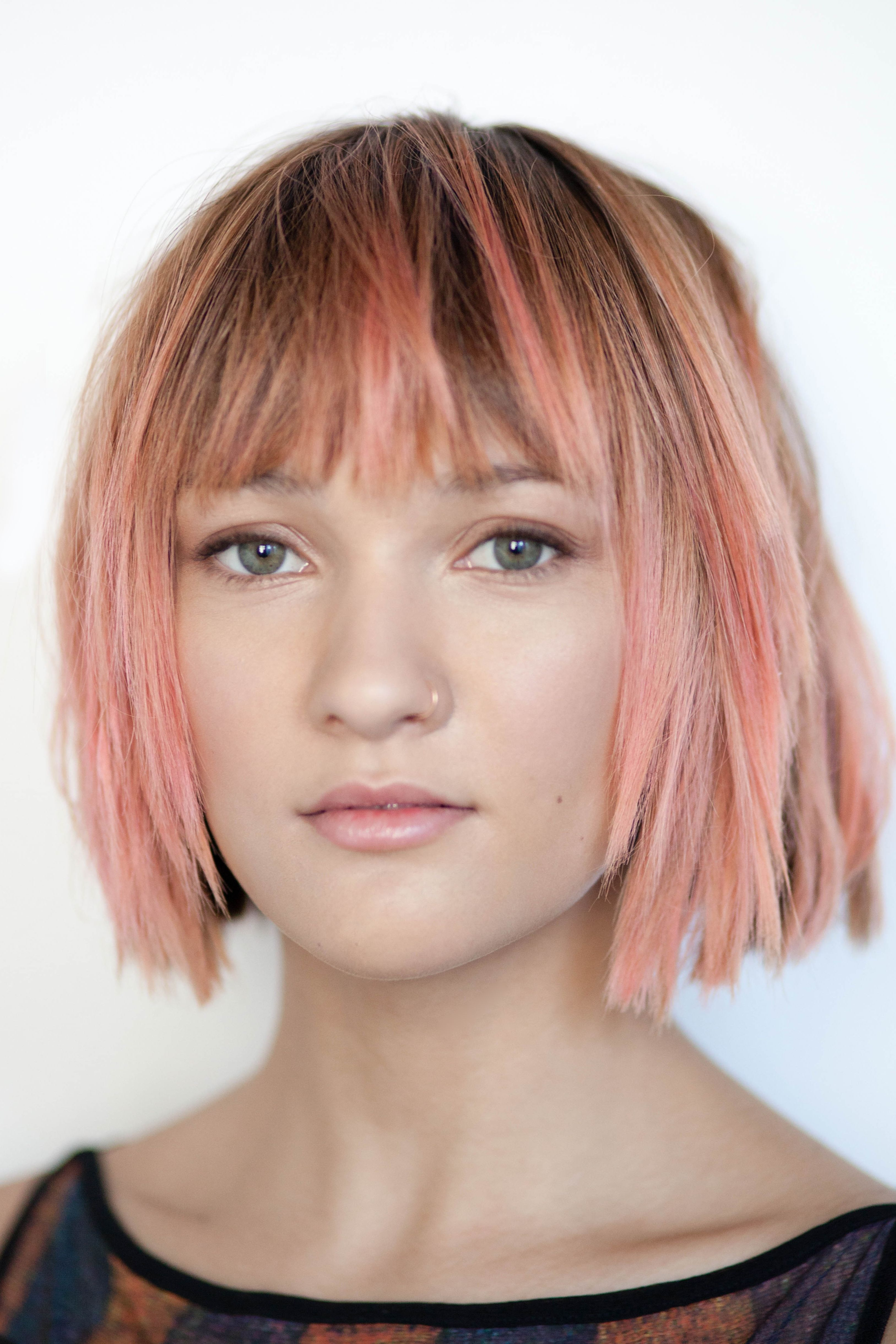 Hairstyles With Blunt Fringe Dusty Purple One Length Bob With Blunt Bangs Look Book
