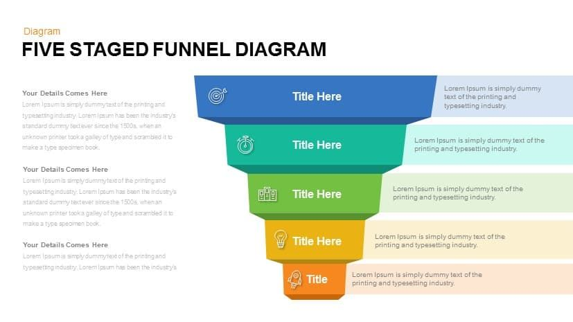 Five Staged Funnel Diagram Powerpoint Template And Keynote Slide Five Staged Funnel Diagram Template For Powerpoint Is A Powerpoint Templates Powerpoint Funnel