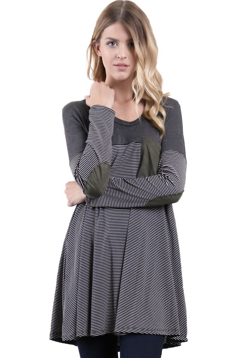 Bucaroo Striped Pocket Detail Loose Fit Dress Black Small -- Awesome products selected by Anna Churchill