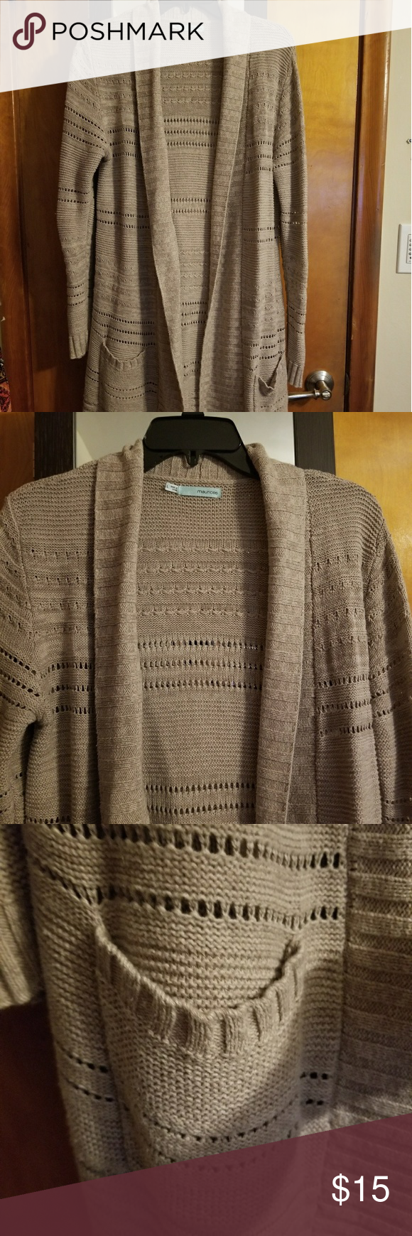 Maurices Open Cardigan EUC, smoke free home, szL. Color is a light ...