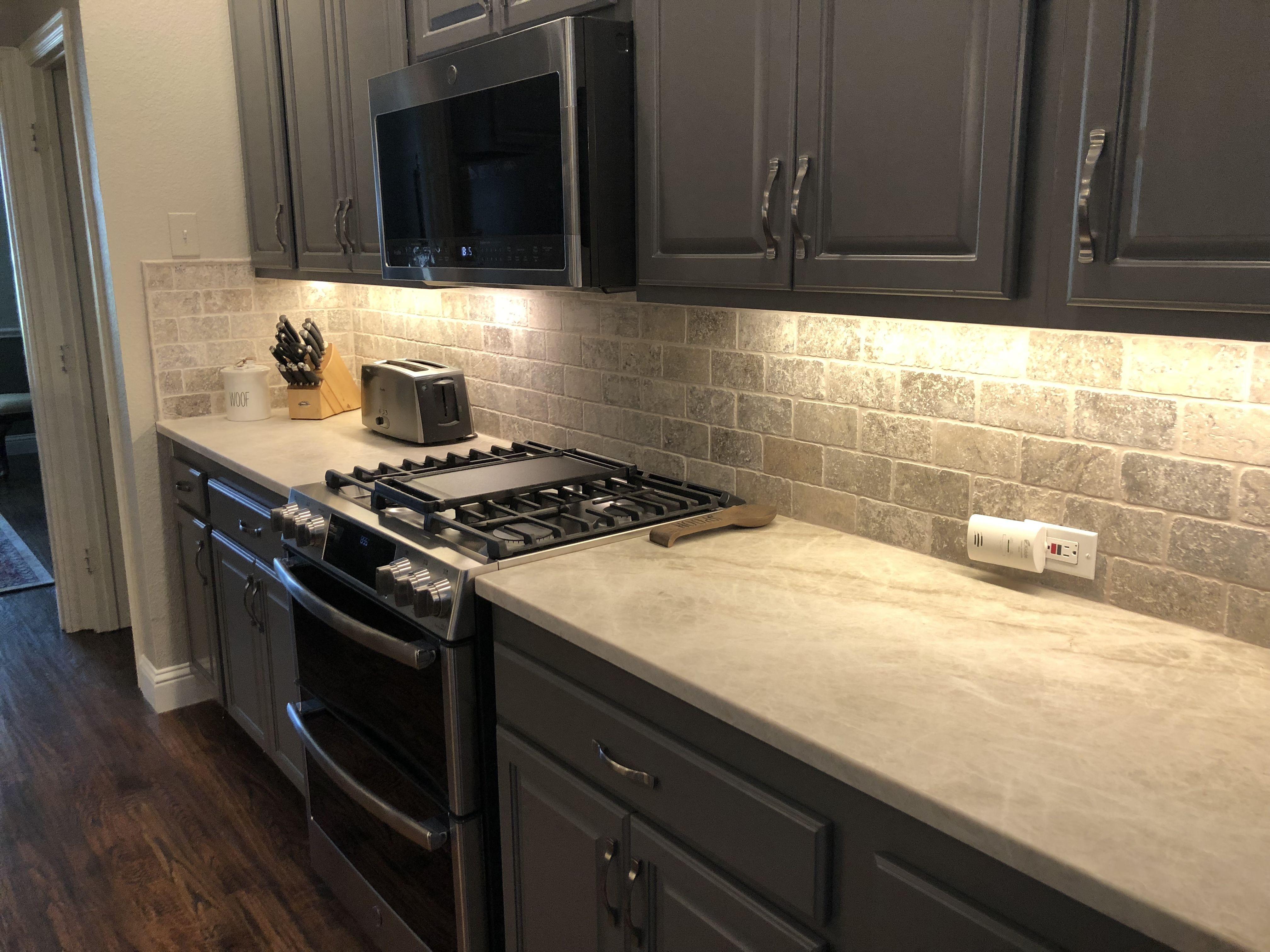 - Taj Mahal Quartzite - Leathered Finished; Cabinets - Valspar Rugged Suede  (color Matched B… Kitchen Backsplash Designs, Travertine Backsplash, Taj  Mahal Quartzite
