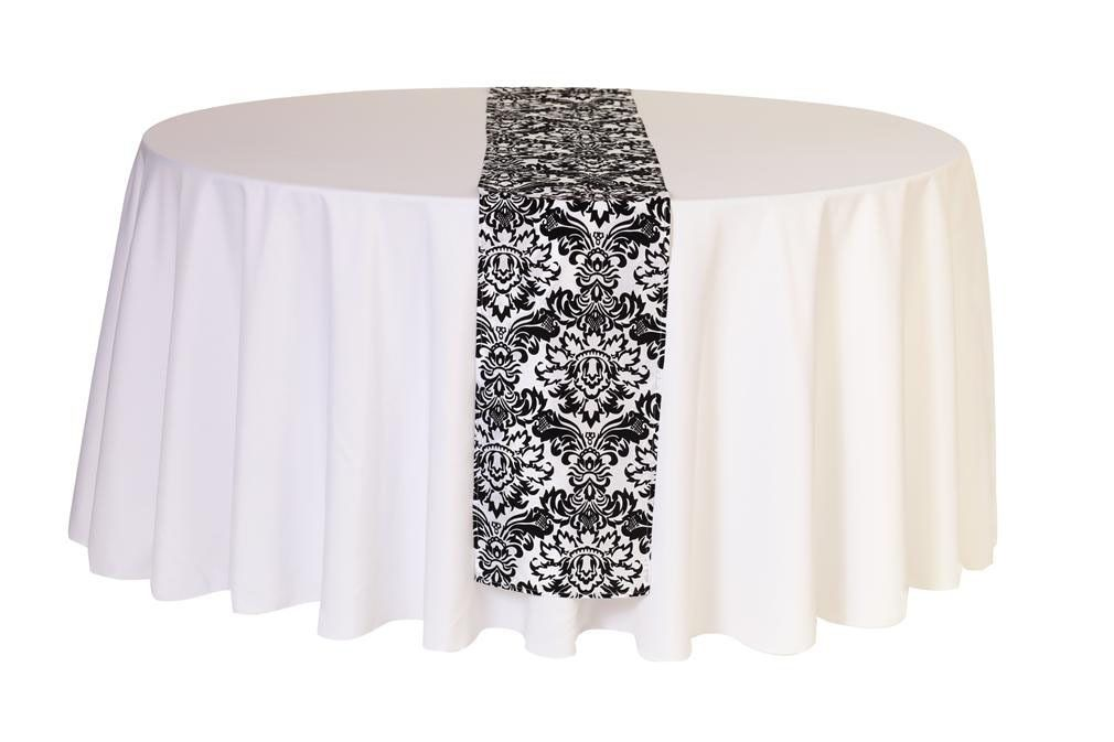 12 X 108 Inch Damask Table Runner White And Black Damask Chair Covers Wedding Table Runners