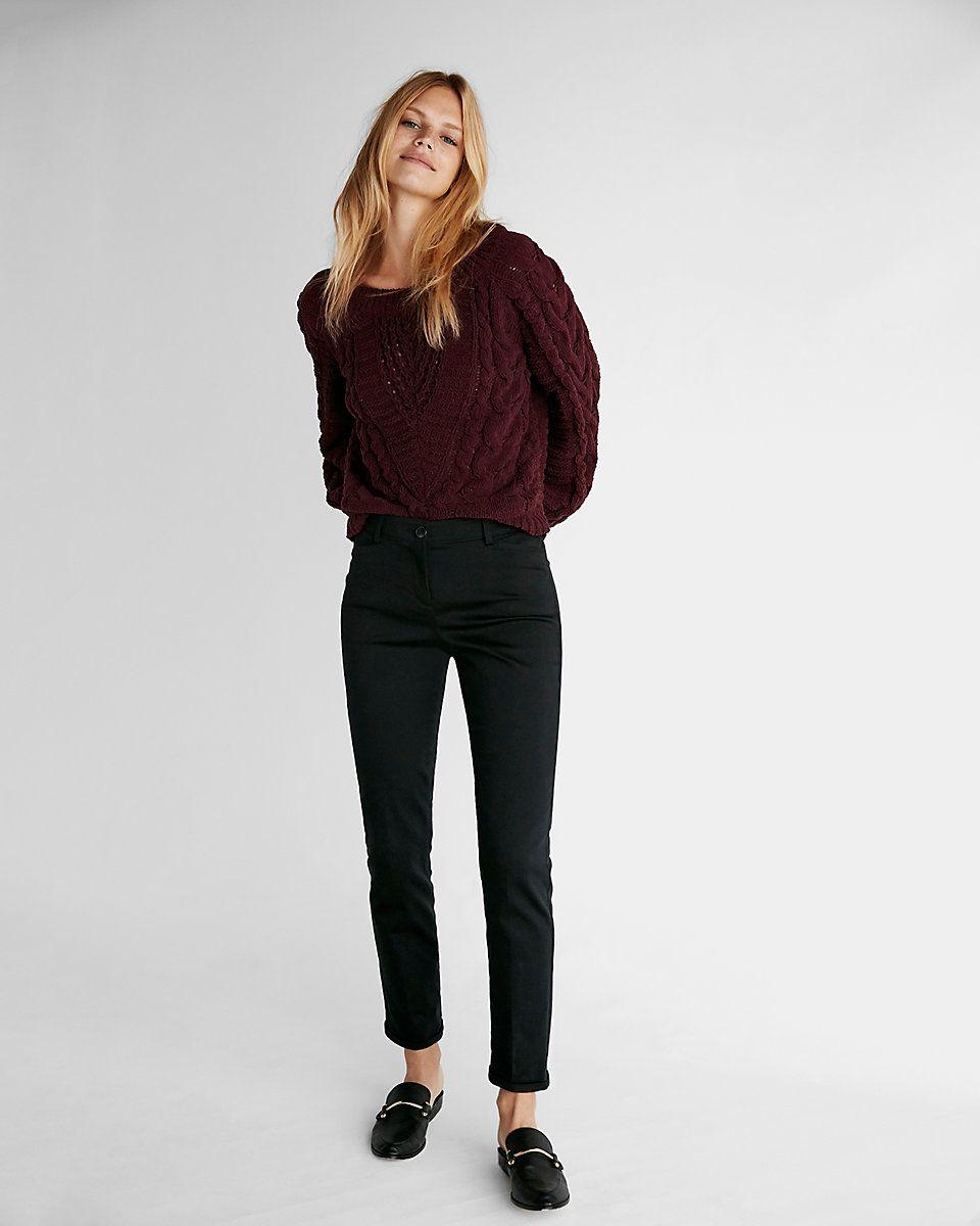 Mid rise straight chino pant slim fit dress pants