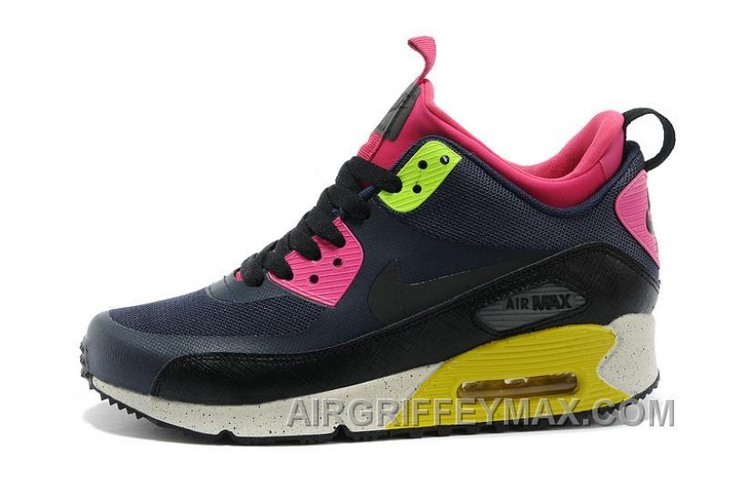 http://www.airgriffeymax.com/soldes-toutes-sortes-de-styles-femme-nike-air- max-90-mid-winter-no-sew-sneakerboot-ns-noir-sombre-grise-rose-vente-discount.  ...
