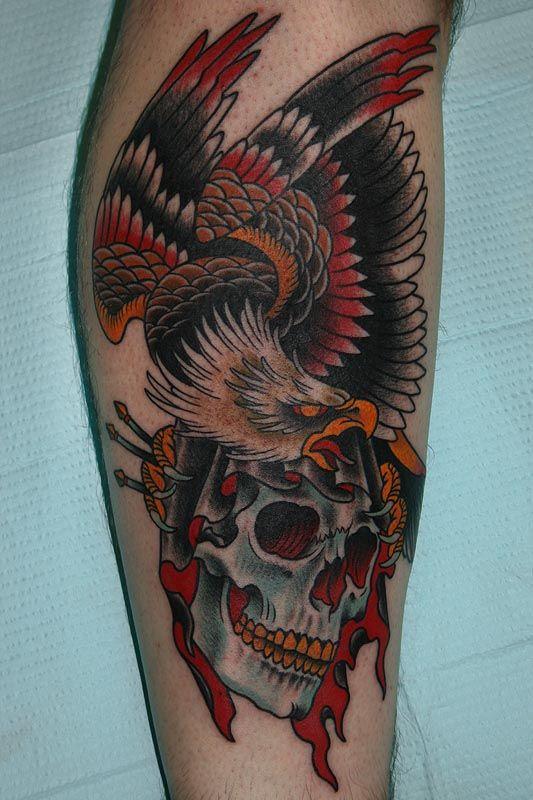 Traditional Eagle Skull Tattoo Design Traditional Eagle Tattoo Tattoos Picture Tattoos