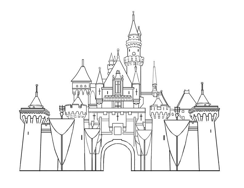 disney templates castle printables disneyland castles Colouring