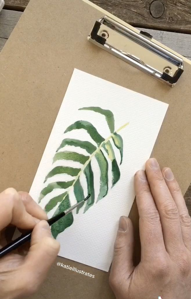 Photo of Watercolor Tropical Leaf Illustration Process
