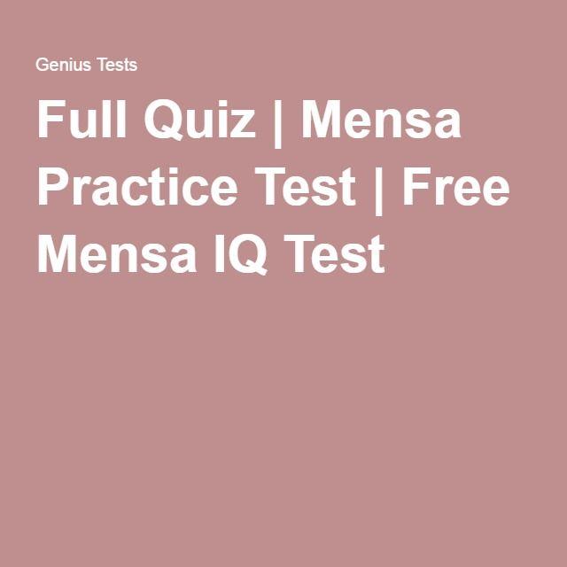 Full Quiz | Mensa Practice Test | Free Mensa IQ Test | iq tests