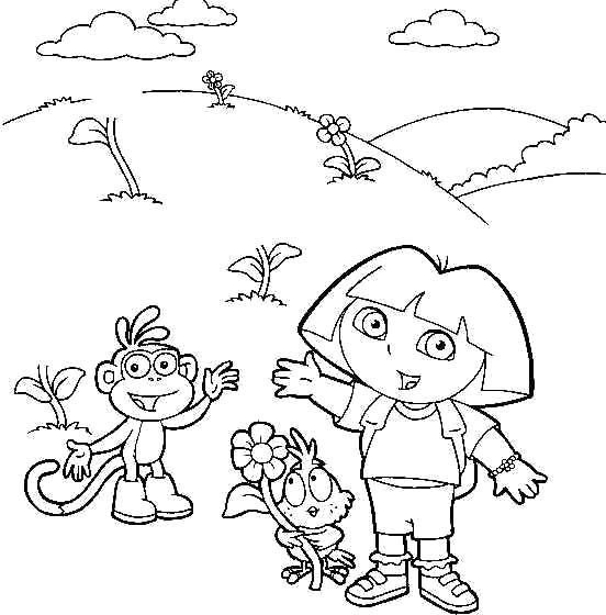 Printable Dora the Explorer and Diego dressed as pirate coloring ... | 560x552