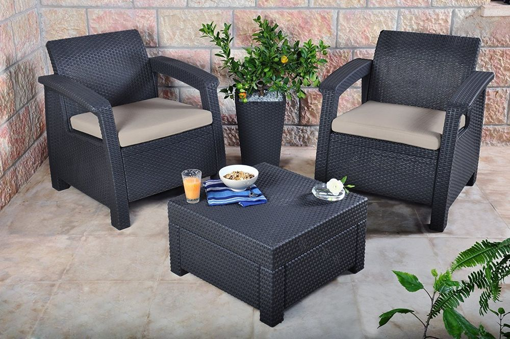 Rattan Garden Furniture Set 2 Seater Graphite With Cushions Durable
