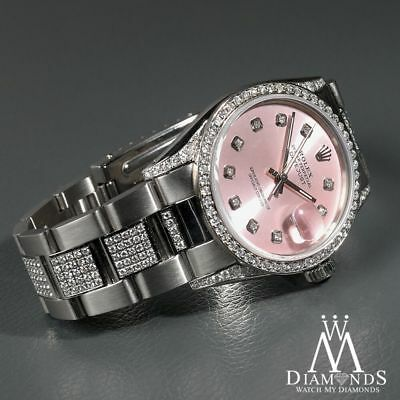 Ladies Diamond Rolex Datejust 16200 36mm Stainless Steel Oyster Pink Dial #rolex #ladieswatches #watchesforwomen #rolexdatejust