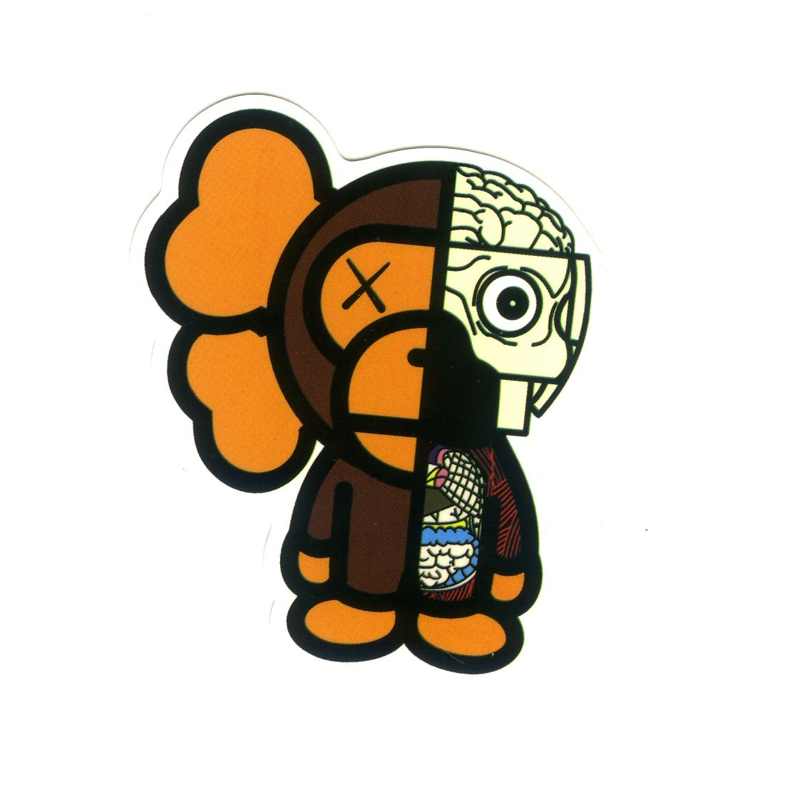 1235 Kaws X Baby Milo Organs Height 7 Cm Decal Sticker In