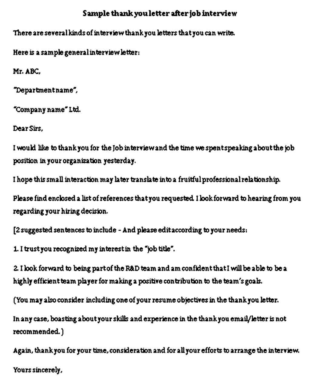 Interview Thank You Note Sample Interview Thank You Notes Interview Thank You Interview Thank You Letter Interview thank you email template