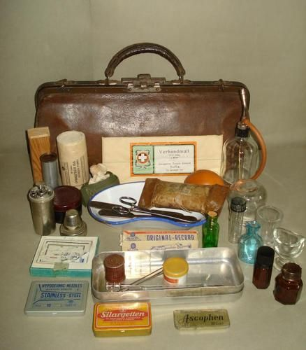 Old Doctor S Leather Bag With Medical Equipment